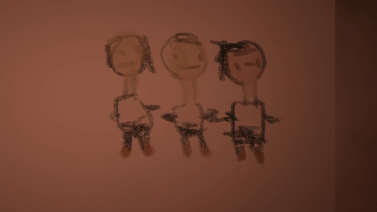 A child's rendering of the trio. Ray, Norman and Emma.